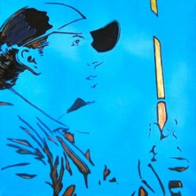 """""""Awating Good Fortune""""—Phil Mickelson by Mimi Stuart ©"""